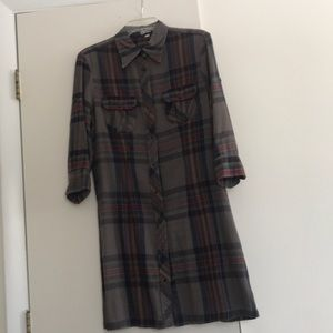American Colors M gray plaid flannel dress